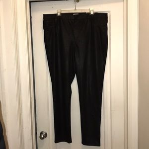Chico's black metallic faux suede jeggings